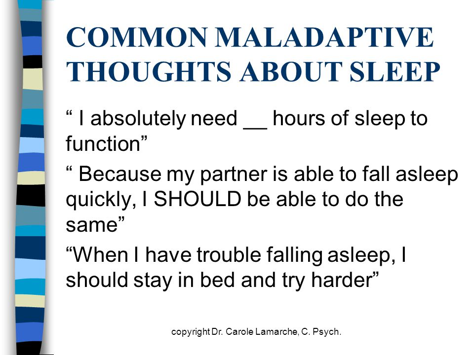 COMMON MALADAPTIVE THOUGHTS ABOUT SLEEP