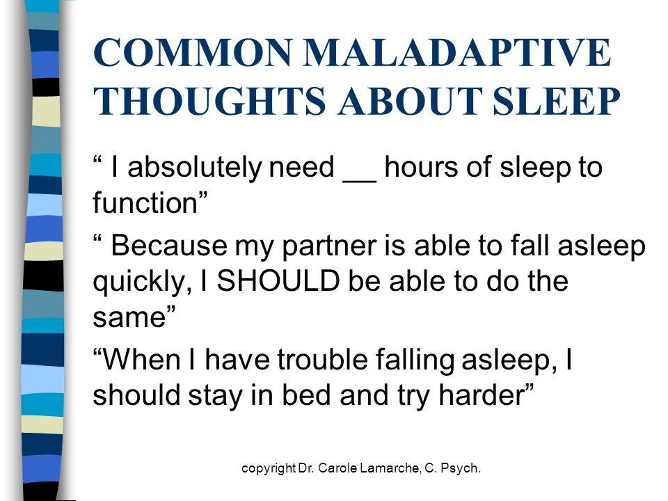 COMMON MALADAPTIVE THOUGHTS ABOUT SLEEP