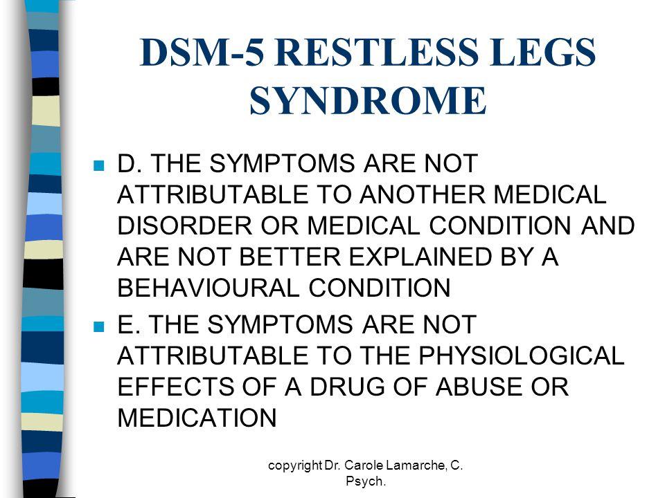 DSM-5 RESTLESS LEGS SYNDROME