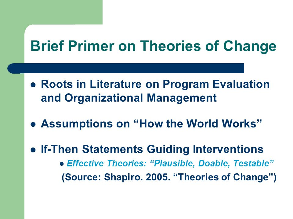 Brief Primer on Theories of Change