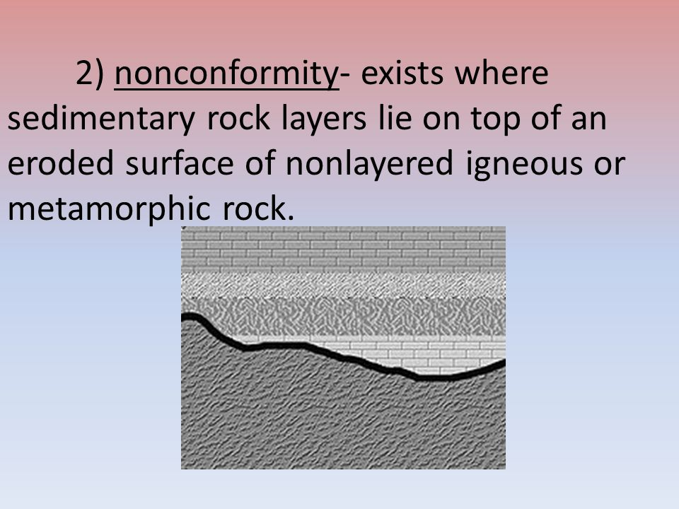 2) nonconformity- exists where sedimentary rock layers lie on top of an eroded surface of nonlayered igneous or metamorphic rock.