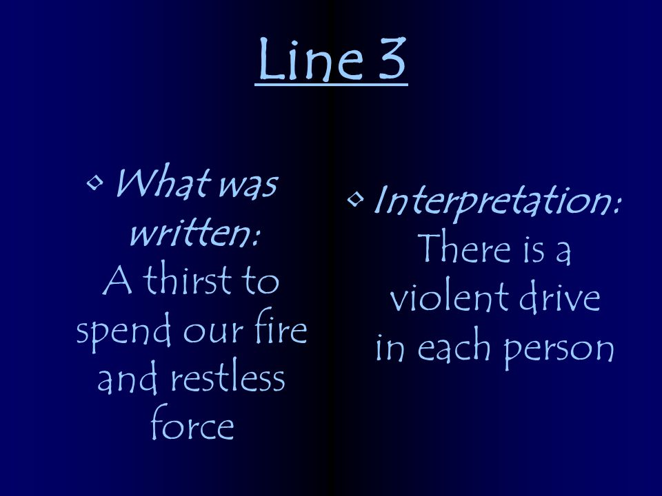 Line 3 What was written: A thirst to spend our fire and restless force