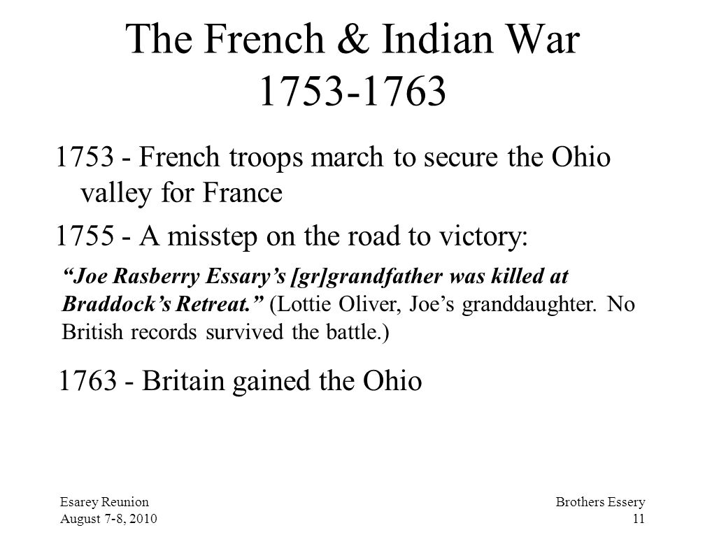 The French & Indian War 1753-1763