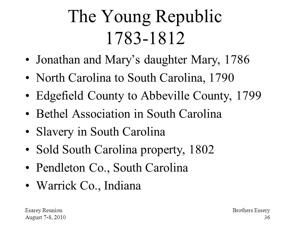 The Young Republic 1783-1812 Jonathan and Mary's daughter Mary, 1786