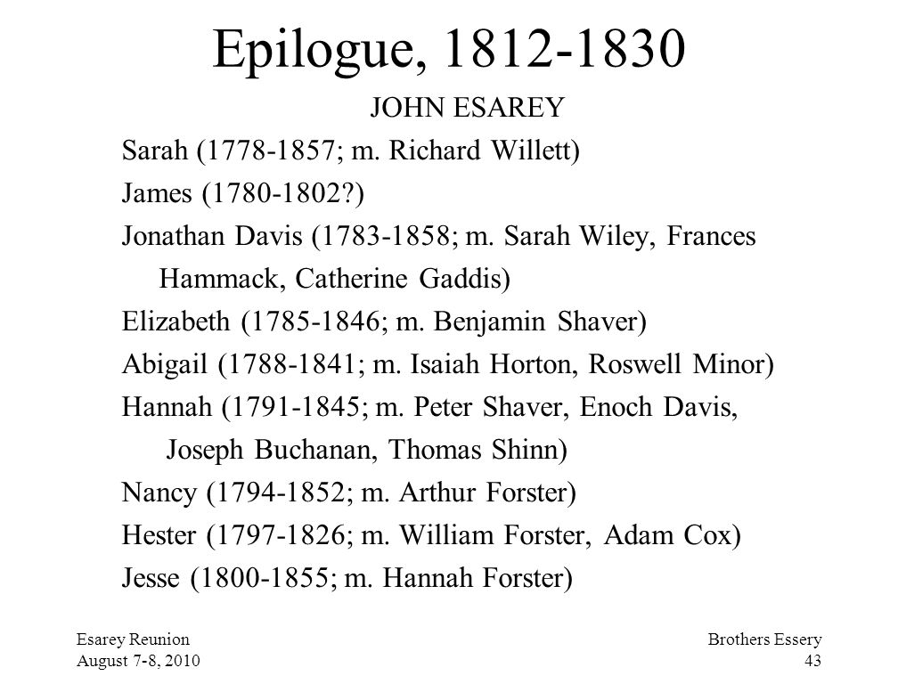 Epilogue, 1812-1830 JOHN ESAREY Sarah (1778-1857; m. Richard Willett)