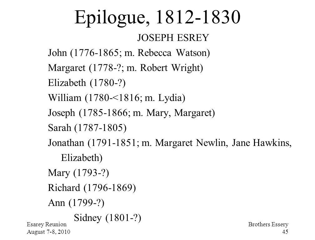 Epilogue, 1812-1830 JOSEPH ESREY John (1776-1865; m. Rebecca Watson)