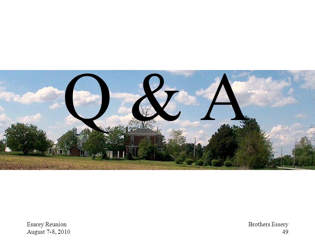Q & A Esarey Reunion August 7-8, 2010