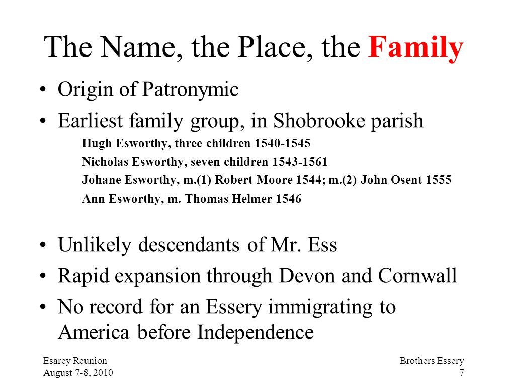 The Name, the Place, the Family