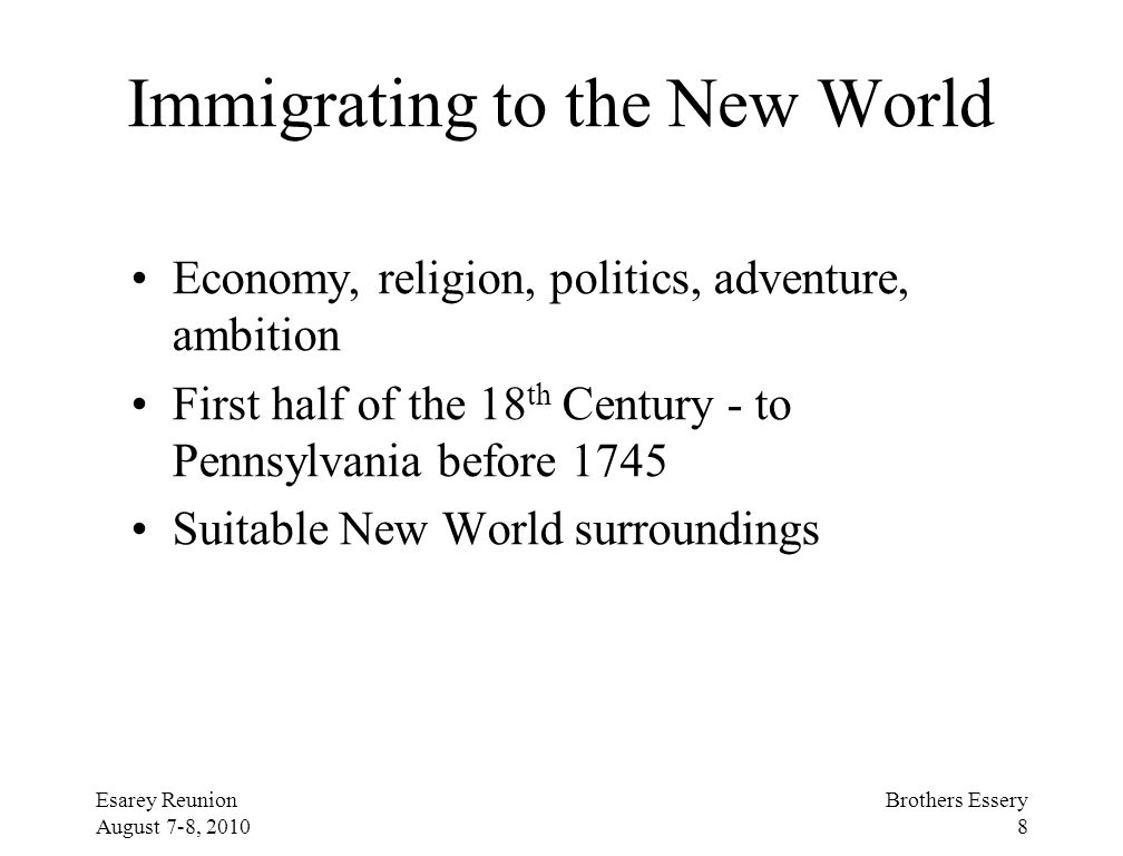 Immigrating to the New World