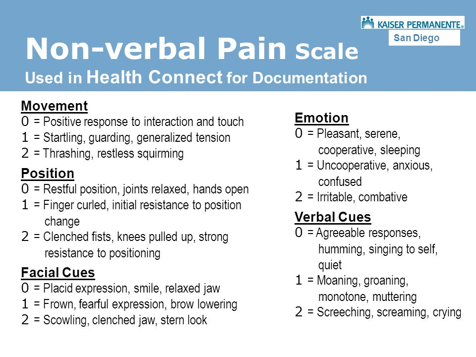 Non-verbal Pain Scale Used in Health Connect for Documentation