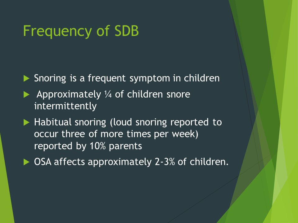 Frequency of SDB Snoring is a frequent symptom in children