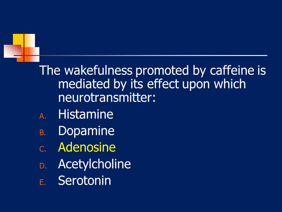 The wakefulness promoted by caffeine is mediated by its effect upon which neurotransmitter: