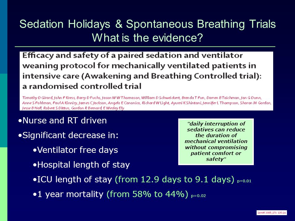 Sedation Holidays & Spontaneous Breathing Trials What is the evidence
