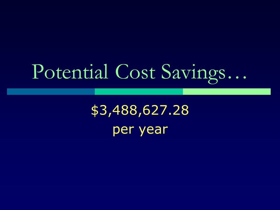 Potential Cost Savings…