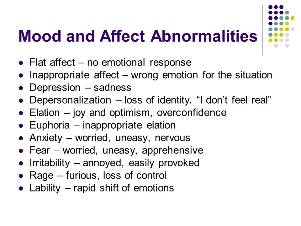 Mood and Affect Abnormalities