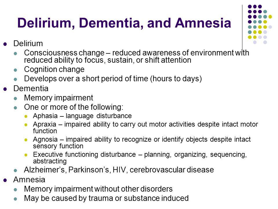 Delirium, Dementia, and Amnesia