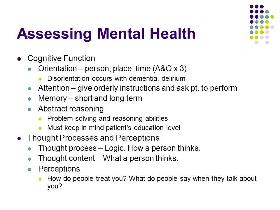 Assessing Mental Health