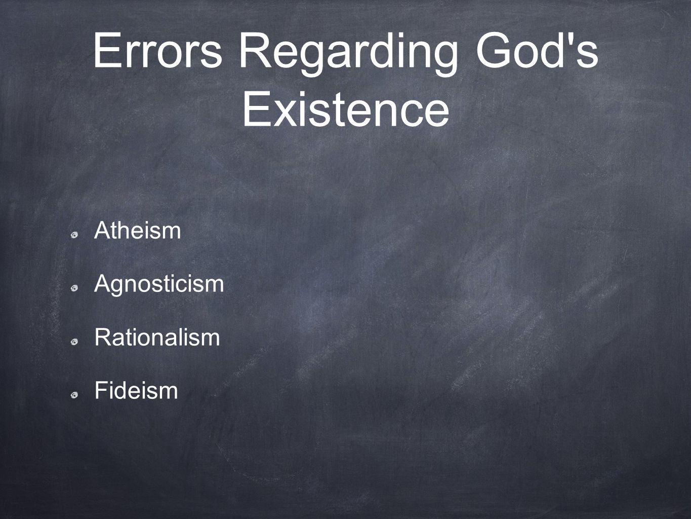 Errors Regarding God s Existence