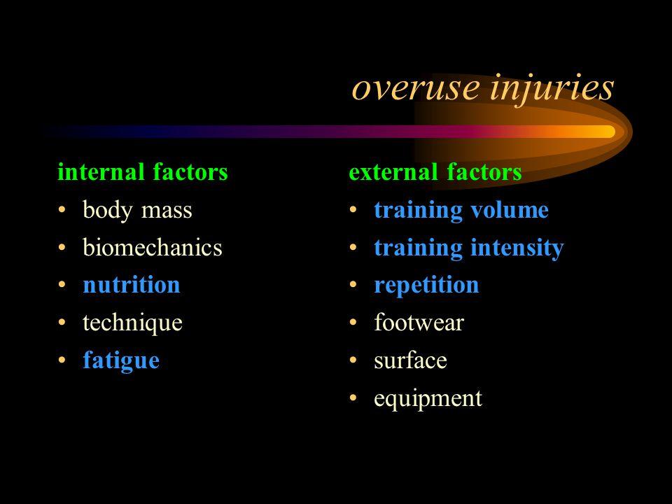 overuse injuries internal factors body mass biomechanics nutrition