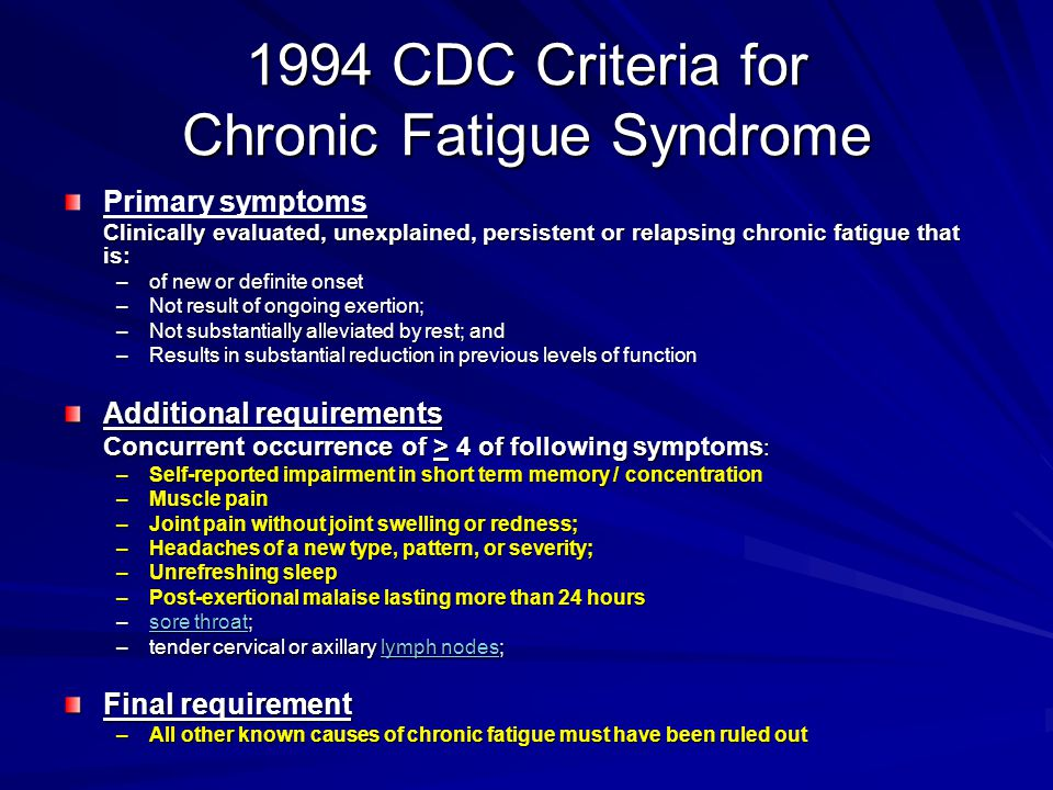 1994 CDC Criteria for Chronic Fatigue Syndrome