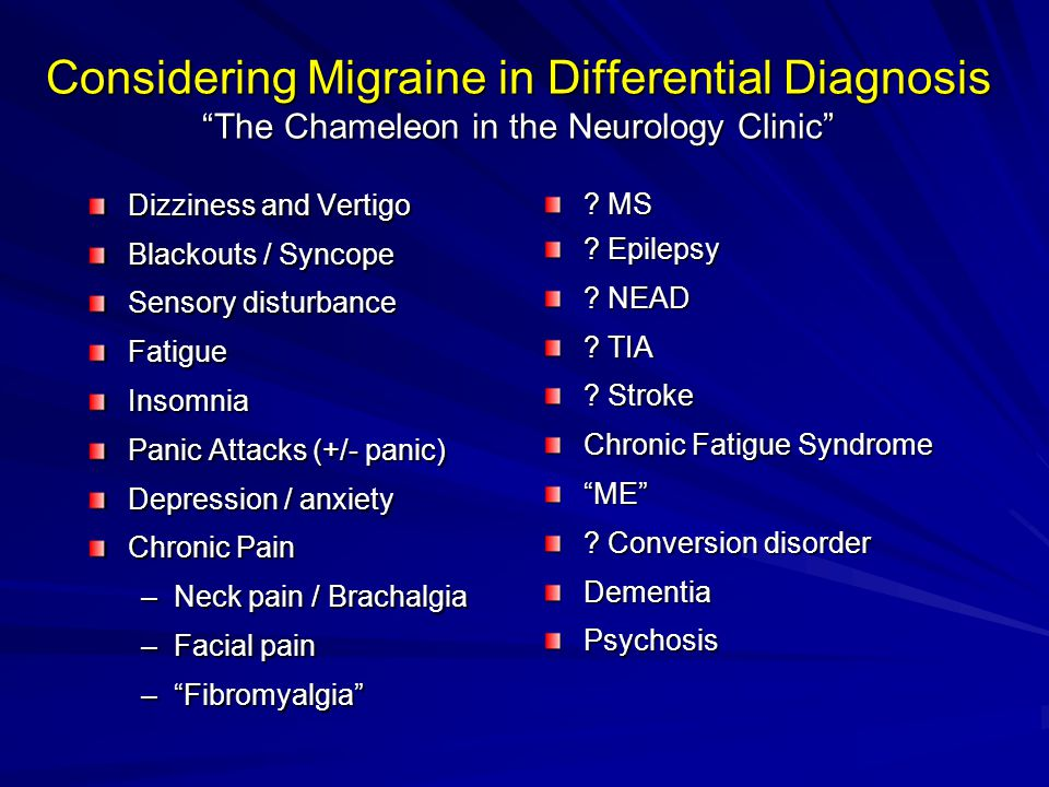 Considering Migraine in Differential Diagnosis The Chameleon in the Neurology Clinic