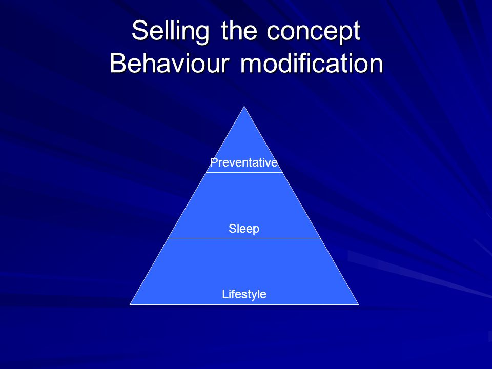 Selling the concept Behaviour modification