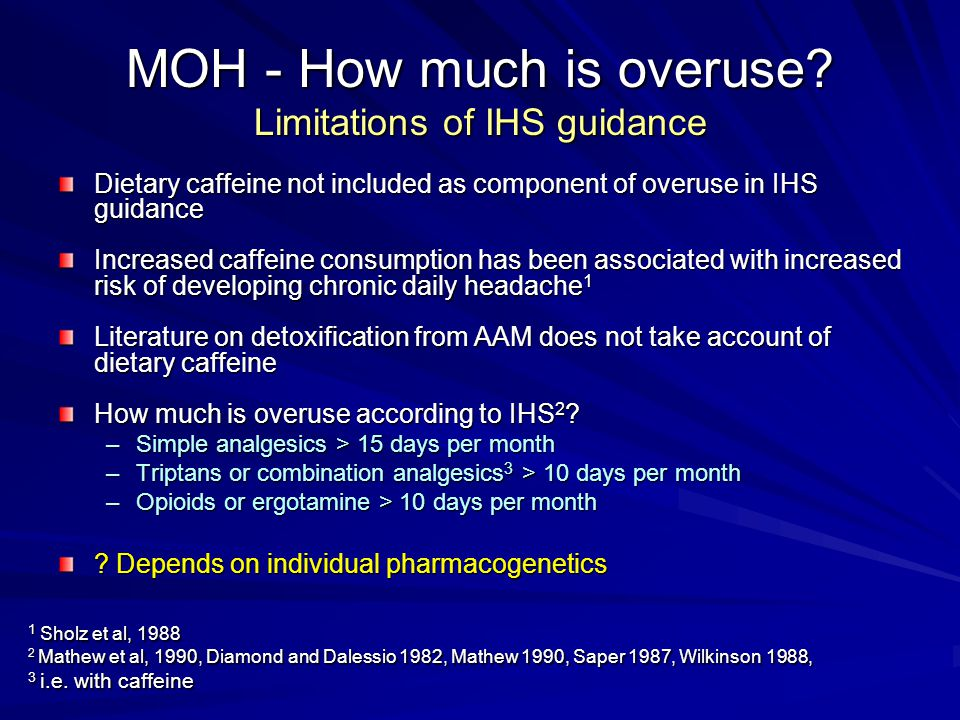 MOH - How much is overuse Limitations of IHS guidance