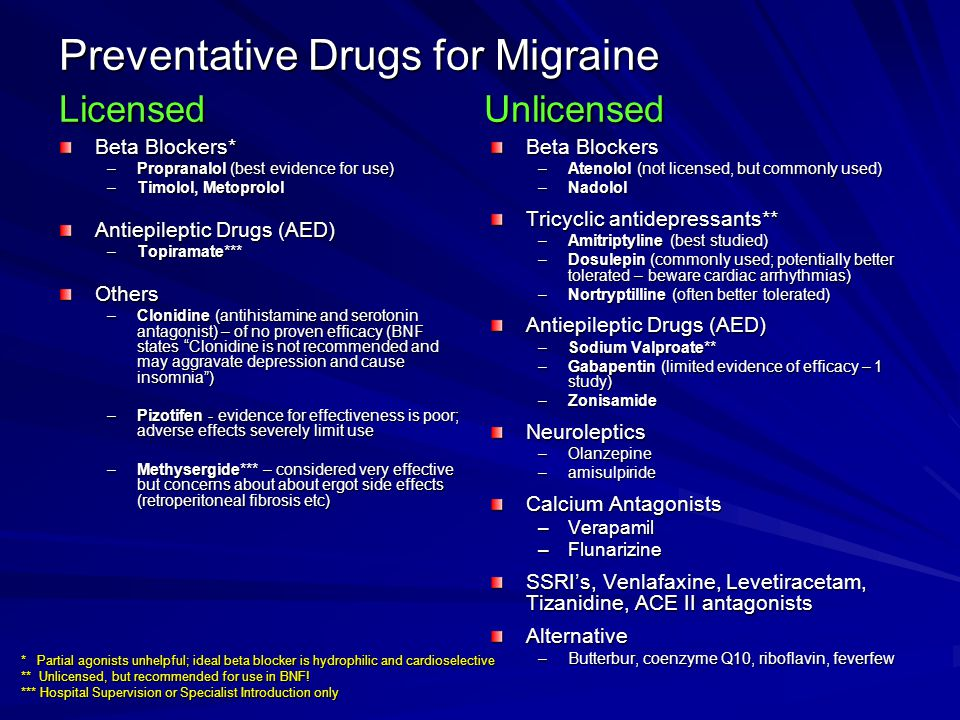 Preventative Drugs for Migraine Licensed Unlicensed