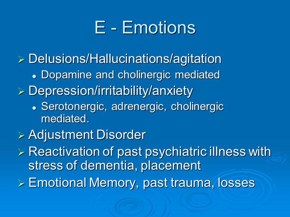 E - Emotions Delusions/Hallucinations/agitation
