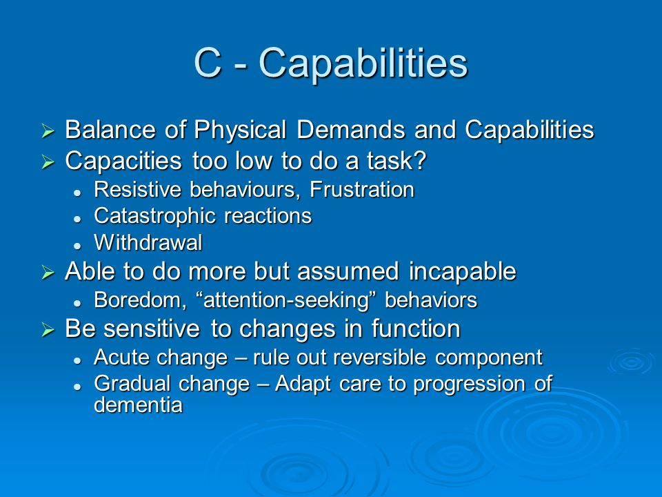 C - Capabilities Balance of Physical Demands and Capabilities
