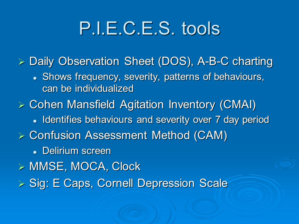P.I.E.C.E.S. tools Daily Observation Sheet (DOS), A-B-C charting