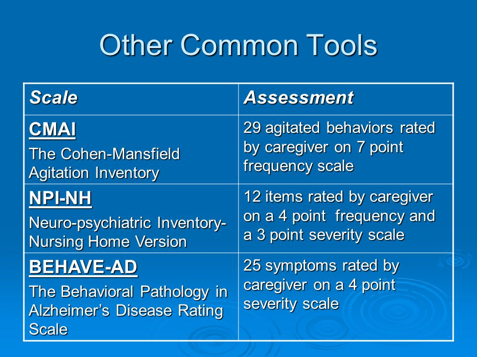 Other Common Tools Scale Assessment CMAI NPI-NH BEHAVE-AD