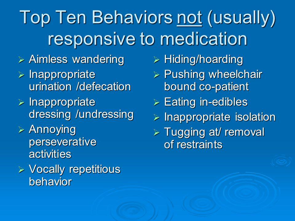 Top Ten Behaviors not (usually) responsive to medication