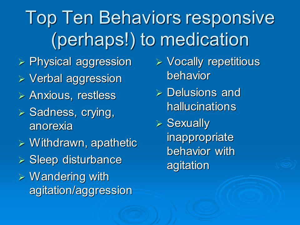 Top Ten Behaviors responsive (perhaps!) to medication