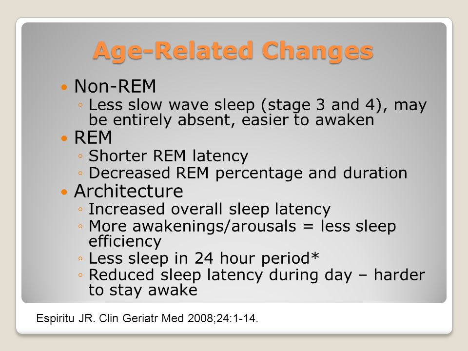 Age-Related Changes Non-REM REM Architecture