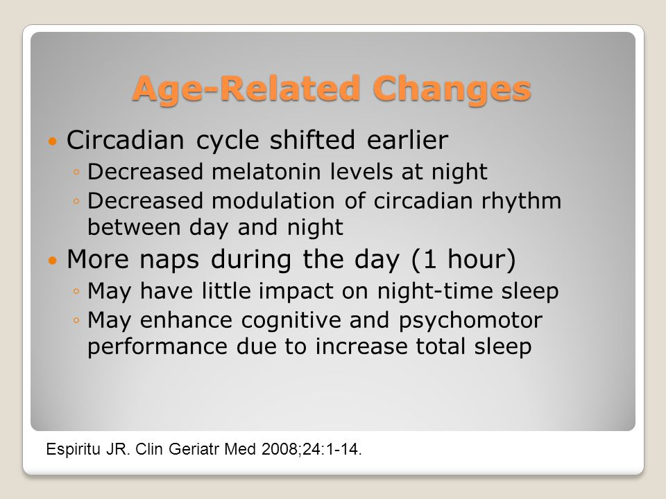 Age-Related Changes Circadian cycle shifted earlier