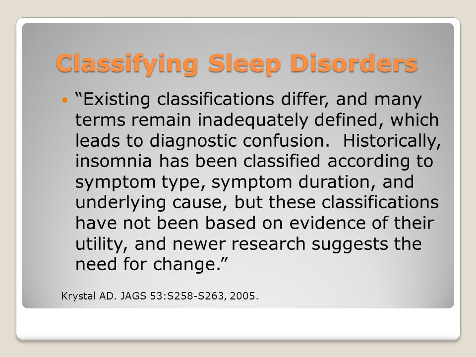 Classifying Sleep Disorders
