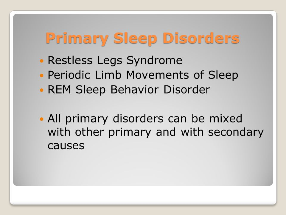 Primary Sleep Disorders