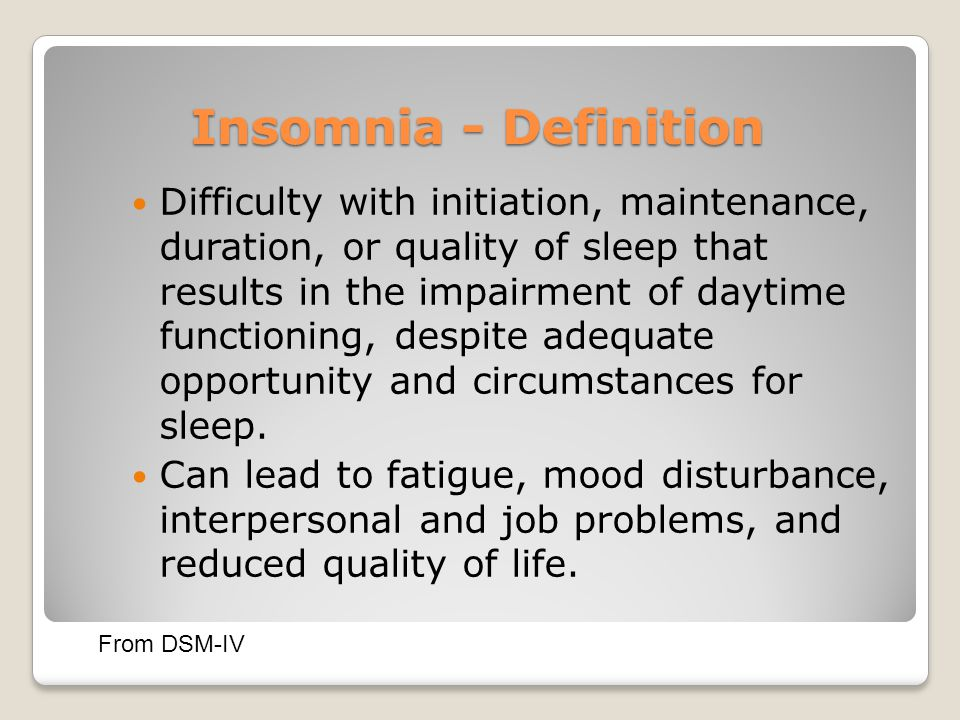 Insomnia - Definition