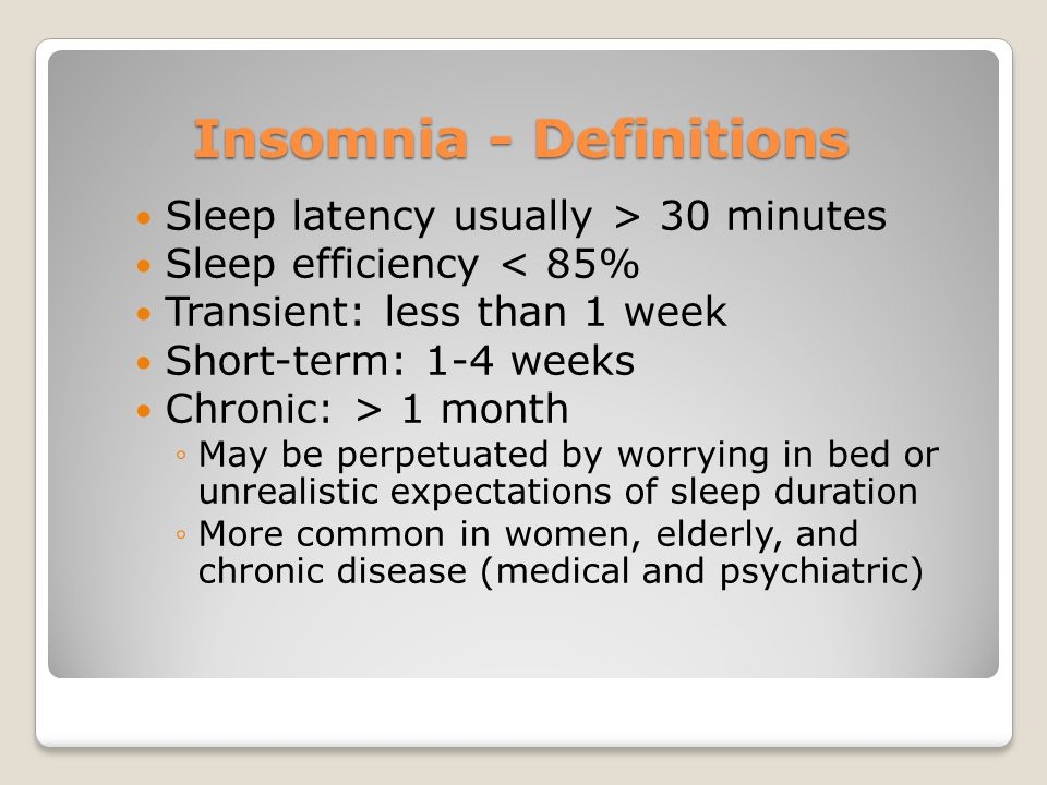 Insomnia - Definitions