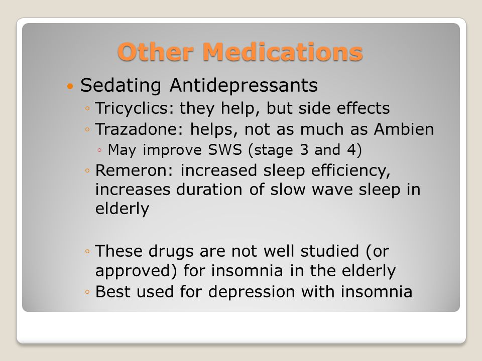 Other Medications Sedating Antidepressants