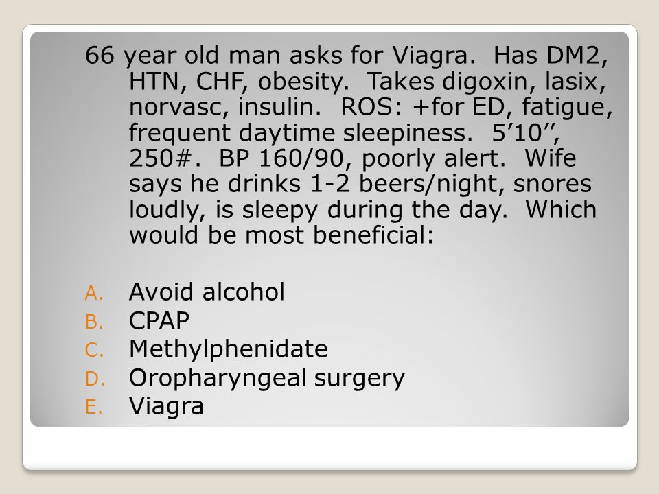 66 year old man asks for Viagra. Has DM2, HTN, CHF, obesity