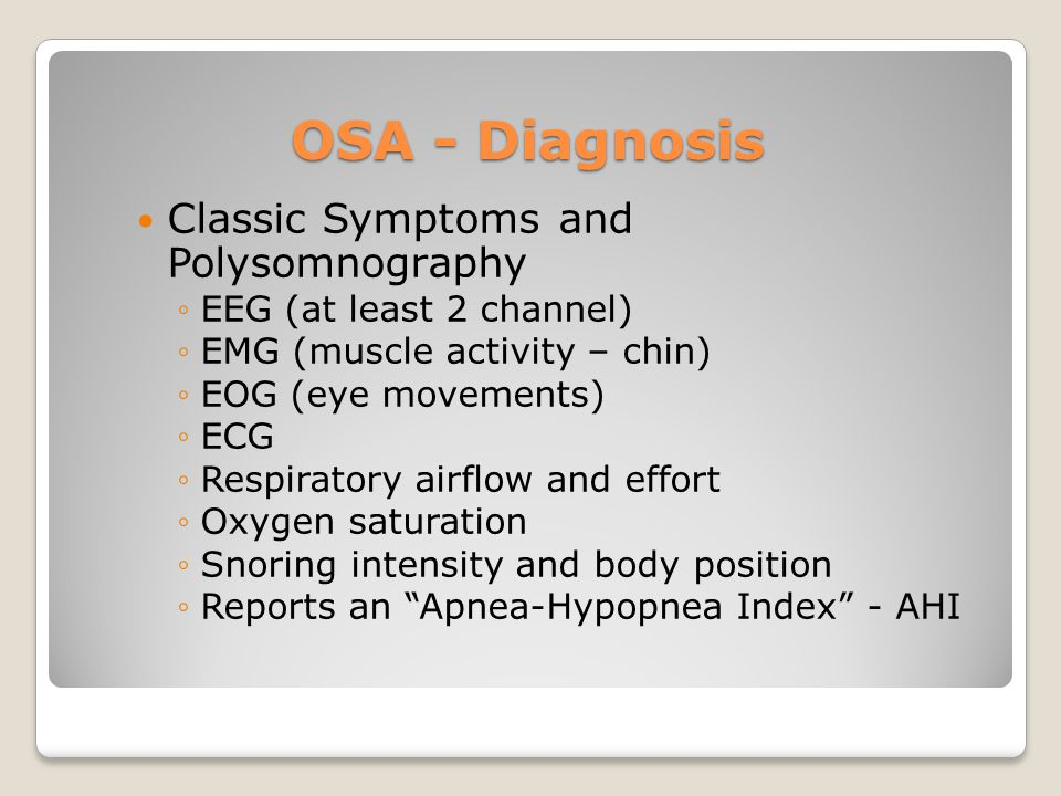OSA - Diagnosis Classic Symptoms and Polysomnography