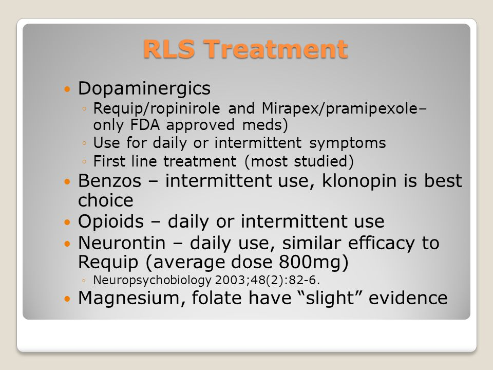 RLS Treatment Dopaminergics