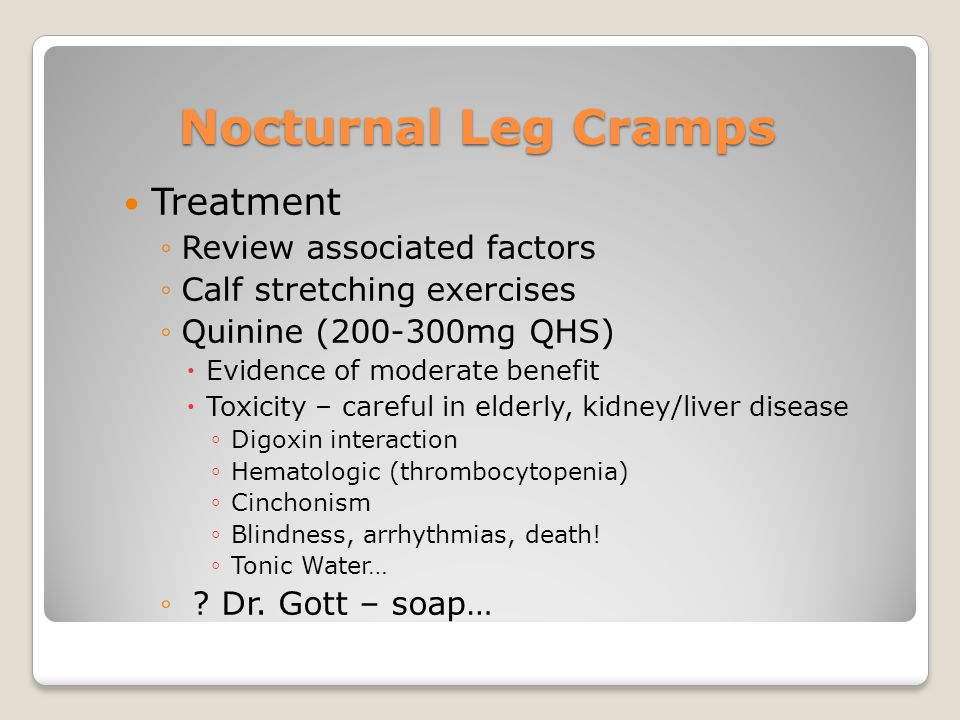 Nocturnal Leg Cramps Treatment Review associated factors