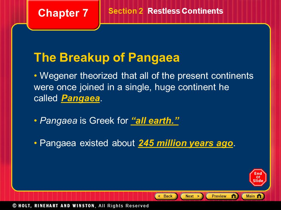The Breakup of Pangaea Chapter 7