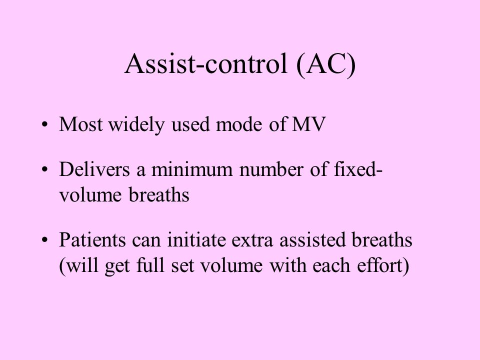 Assist-control (AC) Most widely used mode of MV