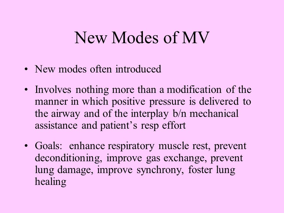 New Modes of MV New modes often introduced