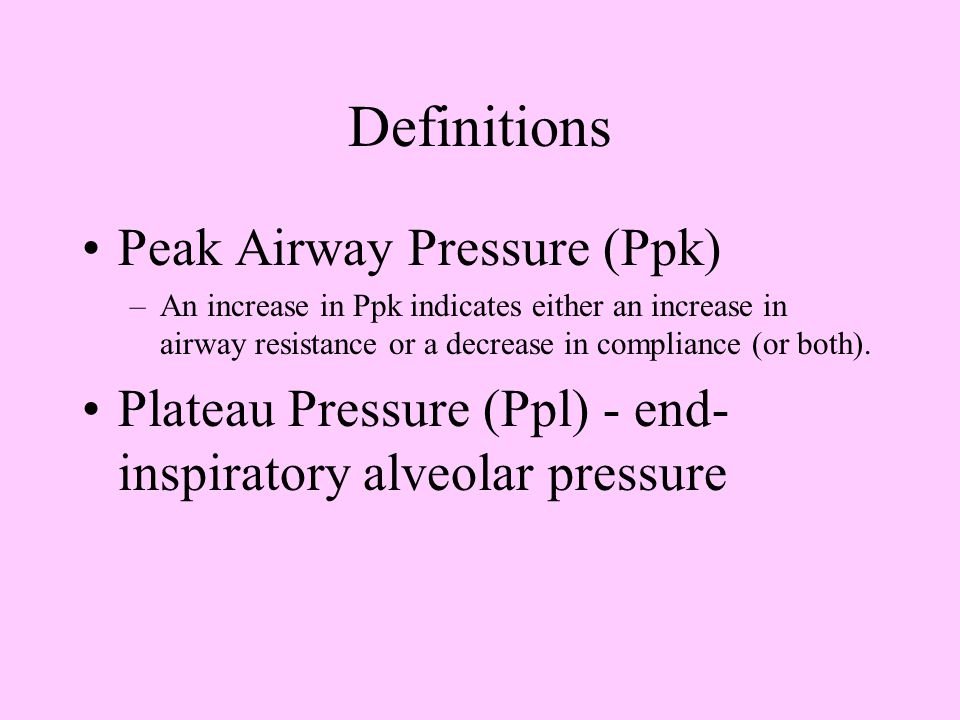 Definitions Peak Airway Pressure (Ppk)