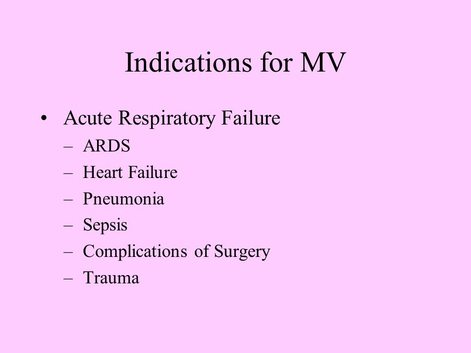 Indications for MV Acute Respiratory Failure ARDS Heart Failure
